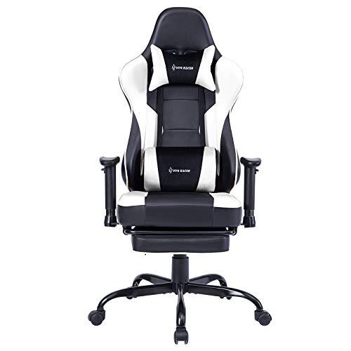 Gaming Stuhl Bürostuhl Ergonomischer mit Massage Lendenwirbelstütze- Hohe Rückenlehne Verstellbarer Schreibtischstuhl mit Fußstütze und Kopfstütze, PC-Stuhl Computerstuhl Gaming Chair (WhiteBlack)