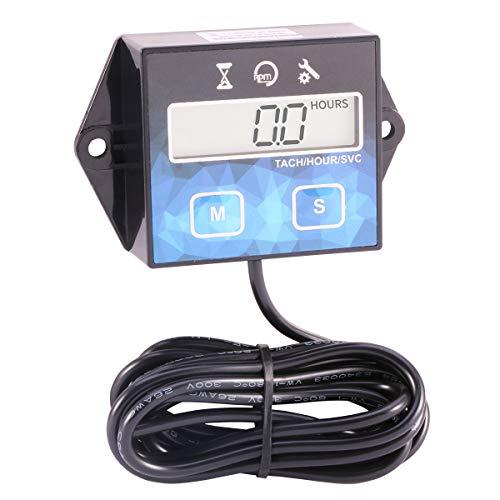 Digital Tachometer Maintenance Tach Hour Meter Replaceable Battery for Motorcycle ATV UTV Boat Generator Mower Chainsaw