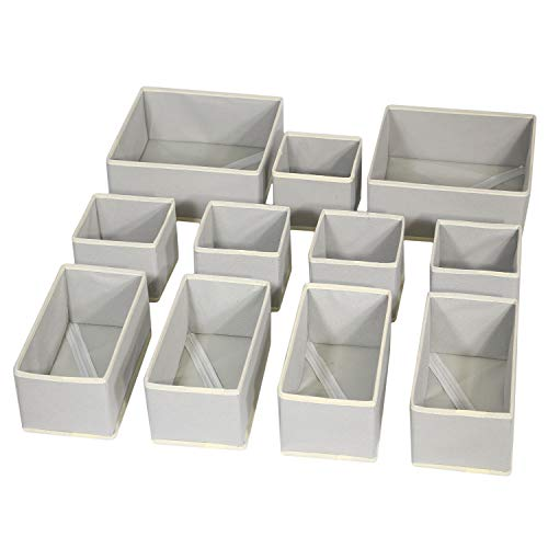 DIOMMELL Foldable Cloth Storage Box Closet Dresser Drawer Organizer Fabric Baskets Bins Containers Divider for Clothes Underwear Bras Socks Lingerie Clothing,Set of 11 Grey 245