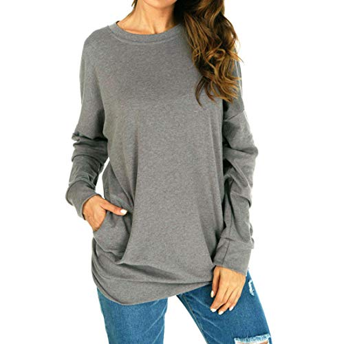 Shirt Women Elegant Solid Color Round Neck Long Sleeve Pockets Loose Comfortable Classic All-Match Casual Sweatshirt T Shirt Fitness Jogging Sport Hiking Party Shirt Top XXL