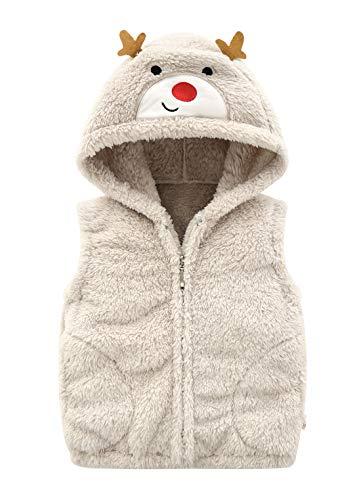 Happy Cherry - Chaleco de invierno cálido con bolsillos con forro polar para niñas (2 a 8 años), Beige, 5-6 Años