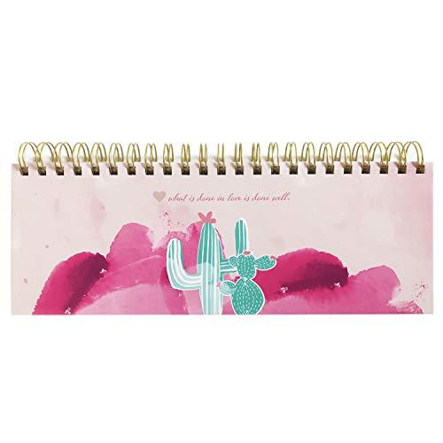 Rosa Tischkalender ohne Datum Alpaka & Kaktus. Hochwertiger, moderner Wochenkalender, Querkalender für 52 Wochen +1. 1 Woche 2 Seiten. Verwendbar als Kalender 2020