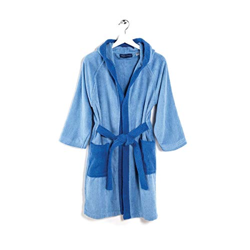 Viglietti Caleffi Peignoir pour enfant en tissu éponge double torsadé, 100 % coton, 400 g/m², boîte cadeau (10/12 ans lavande)