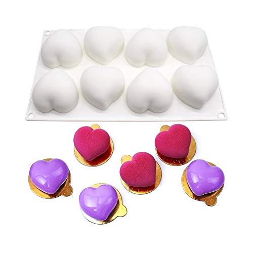 molde de silicona 3d, moldes silicona para postres pudín, 8 cavidades Forma de corazón, blanco
