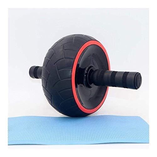 ホームジムのためのフォームハンドルローラーデュアル腹部エクササイズ機器、赤+黒と膝マット運動腹部ローラーで腹筋ワークアウトのためのアブローラー