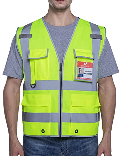 SESafety Safety Vest with 9 Pockets, High Visibility Reflective Vest, Construction Vest for Men, Work Vest for Men, ANSI/ISEA Class 2 Type R, Yellow, XL