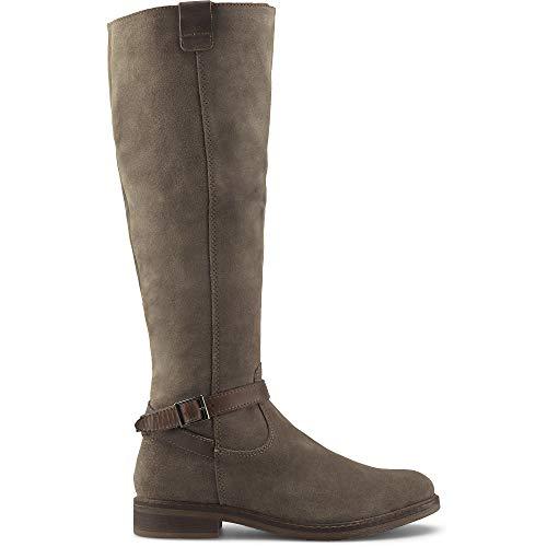 Cox Damen Reiter-Stiefel aus Leder, eleganter Langschaft-Stiefel mit weichem Innenfutter, klassischer Stiefel mit seitlichem Reißverschluss, in Braun Braun Rauleder 39