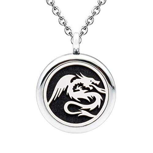 DIYear Charm Dragon Pattern Locket Pendant Aromatherapy Essential Oil Diffuser Necklace for Women Girls