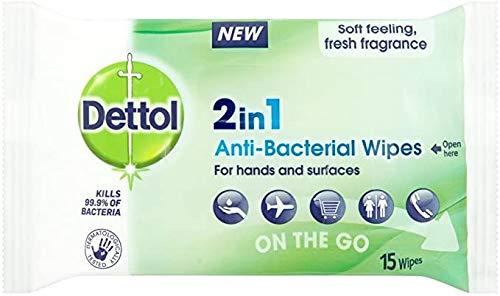 Dettol 2 in 1 Antibacterial Wipes - 15 x 10
