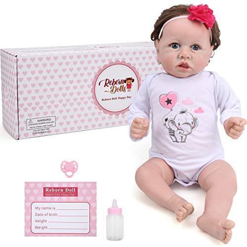 HONG111 Boneca bebê Reborn, boneca fofa de silicone de vinil macio de 55 cm, feita à mão, boneca Reborn com peso realista, o melhor conjunto de aniversário para meninas de 3 anos, Nina
