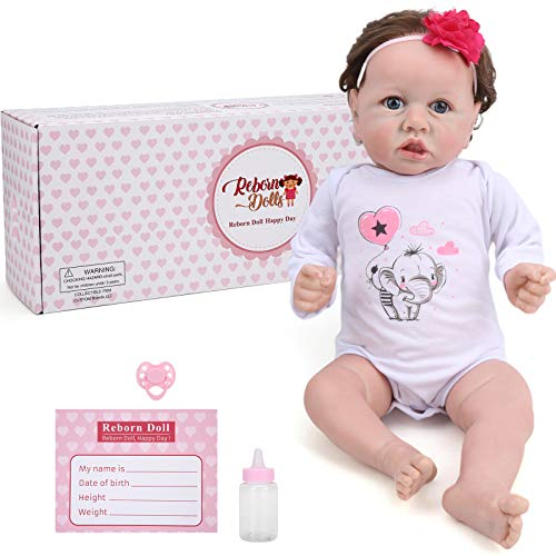 22 Inch Cute Soft Reborn Baby Girl Doll Lifelike Children Role Play Doll Gift Toy with Crying Sound & Heartbeat