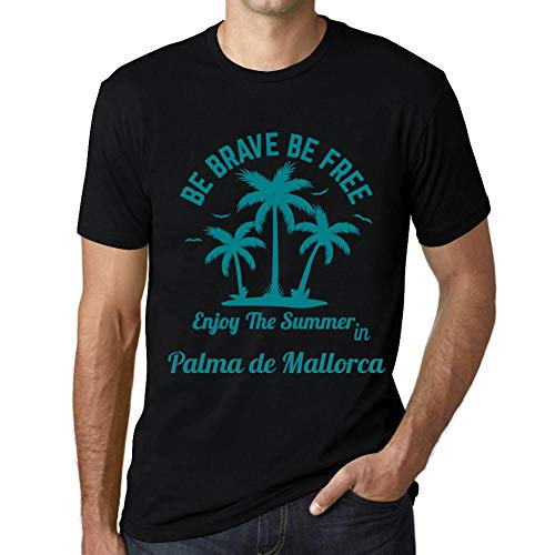 Hombre Camiseta Gráfico T-Shirt Be Brave & Free Enjoy The Summer Palma de Mallorca Negro