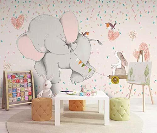Muurschildering achtergrond wallpaper voor muren 3 D cartoon olifant konijn kinderkamer achtergrond wandbehang wooncultuur 350 x 245 cm.