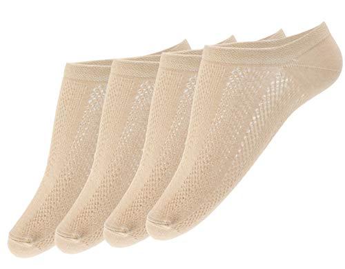 Giulia 4 Paar rutschfeste Sneaker Socken für Damen Sneaker-söckchen Ballerina Zehlinge Füßlinge Footies Linen 36-38