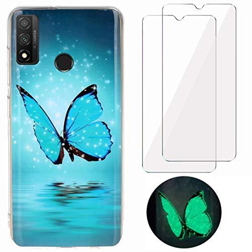 YiKaDa - Cover per Huawei P Smart 2020 + [2 Pack] Pellicola Protettiva in Vetro Temperato, Custodia Luminosa Morbida in Silicone TPU - Glitter Farfalla