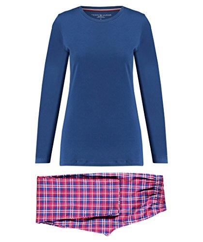 Tommy Hilfiger Damen Pyjama-Set Gr. Small, Blue Depths / Crimson