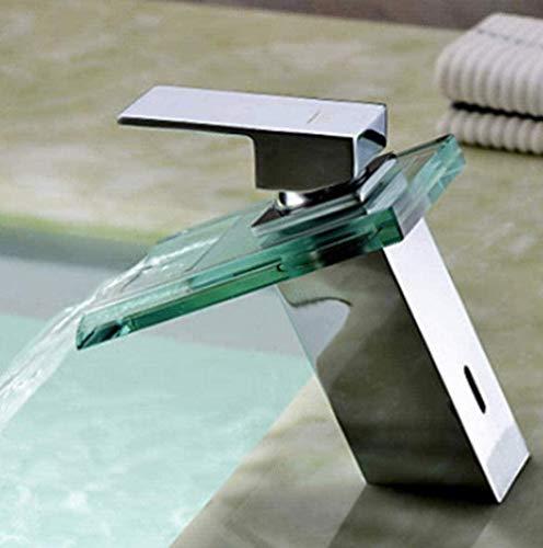 Grifo pulido del fregadero del fregadero de la cascada con el grifo del baño de cristal Grifo caliente y frío