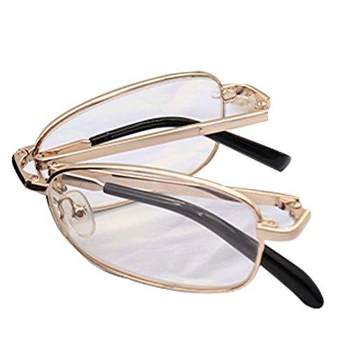 Reading Glasses Gafas de Lectura portátiles de Metal, Gafas de Lectura Plegables de Marco Completo, Lente acrílica, Oro, Aumento 10.-3.0