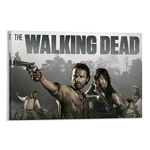 Póster de la película The Walking Dead 2, enmarcado al óleo, impreso en lienzo para decoración del hogar, cuadros colgantes para sala de estar, dormitorio, listo para colgar, 40 x 60 cm