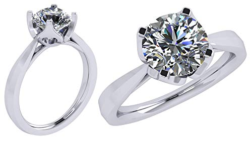 Heart & Soul Silver 9.0mm (3ct) Round Cut Zirconia Solitaire Ring-Platinum Plated-Size 8