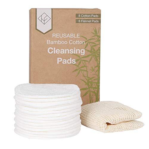 House Envy 16Pcs Disques Coton Demaquillante Lavable Bambou + Sac de lavage丨 Tampons Démaquillants Réutilisable Tissu Bio 丨 Coton à Démaquiller