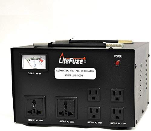 LiteFuze Convertidor de Voltaje de 5000 W, Transformador, medidor regulador de Alta Resistencia, Paso Arriba/Abajo, 110/120/220/240 voltios, Cable Totalmente molido, Tomas de Salida universales
