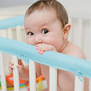 crib bedding and baby bedding exq home 3-piece baby crib rail cover set for 1 front rail and 2 side rails,safe kids padded crib rail protector from chewing for standard cribs,soft batting inner for baby teething guard(light blue)