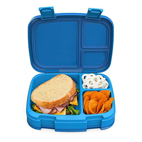 Bentgo Fresh – Leak-Proof, Versatile 4-Compartment Bento-Style Lunch Box with Removable Divider, Portion-Controlled Meals for Teens and Adults On-The-Go – BPA-Free, Food-Safe Materials (Blue)