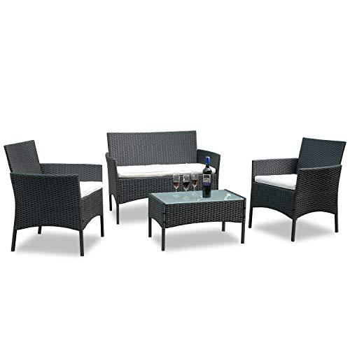 Hengda® Muebles de Jardín Mesa de Café Sillones mimbre Relax exterior Conjunto...