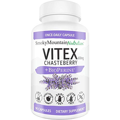 Vitex Chasteberry Supplement 600mg 90 Capsules (3 Month Supply) Plus BioPerine. for Fertility, Estrogen, Hormone Balance, Menopause, Acne, Mood, PCOS. Agnus-Castus Berry Extract Supplements for Women