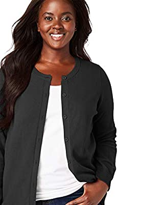 Woman Within Women's Plus Size Perfect Long Sleeve Cardigan - 1X, Black by Woman Within