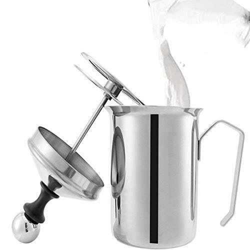 Lycheer 800ML Milchaufschaeumer,Edelstahl Double Mesh Milchaufschäumer mit Doppel Mesh, Milchaufschäumer Schaumbecher Schaumstoff Sahnekännchen für heiße Schokolade Kaffee Latte Cappuccino