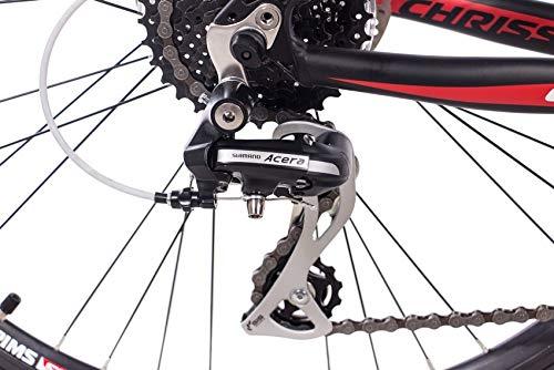 CHRISSON 26 Zoll Mountainbike Hardtail - Altero 1.0 schwarz - Hardtail Mountain Bike mit 24 Gang Shimano Acera Kettenschaltung - MTB Fahrrad für Herren und Damen Suntour Federgabel - 6