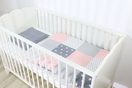 ULLENBOOM ® Babybettwäsche Set Rosa Grau (2 tlg. Baby Bettset: Kissenbezug 35x40 cm & Bettdeckenbezug 80x80 cm, Motiv: Sterne, Patchwork Design)