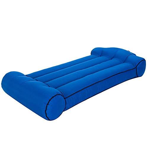 Sofá hinchable de aire, bolsillo para exteriores, sofá inflable individual, lonchera, silla de camping, color azul 2_190 x 85 x 35 cm
