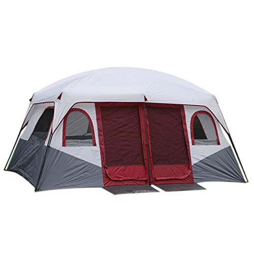 Mdsfe Large Family Camping Tents Waterproof Cabin Outdoor Tent for 8 10 12 Person Event Marquee Tents-Red,A2