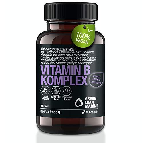 GREEN LEAN MARINE® Vitamin B Komplex hochdosiert mit Vitamin B12 | mit allen 8 B Vitaminen, Folsäure und Cholin | 90 Vitamin B Kapseln | B Komplex Vegan.