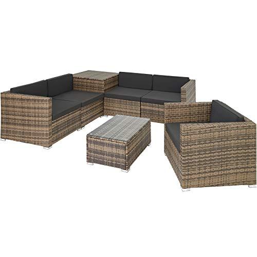 TecTake 800825 XXL Polyrattan Sitzgruppe, frei zu gruppierende Elemente, inkl. Aufbewahrungsbox mit Hubautomatik für Polster, Tisch mit Glasplatte (Natur...