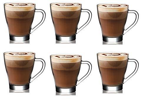 AQS International - Juego de 6 tazas de cristal con asa para café con chocolate caliente, vidrio, 6 Cups 260ml