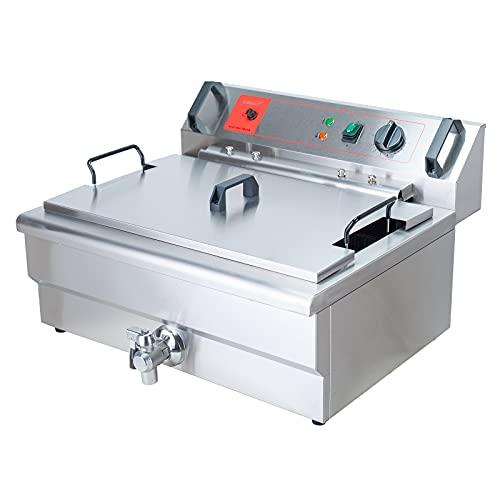 Valgus Friggitrice elettrica professionale in acciaio inossidabile 3000W 20L Friggitrice da cucina da banco di grande capacità con cestello e coperchio, sistema di scarico per ristorante e casa