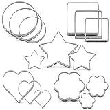 KENIAO Juego de Básico Cortadores de Galletas Redondas Cuadrados Moldes para Galletas de Fondant - 15 Piezas - Estrellas, Redondas, Corazon, Flores & Cuadrados - Acero Inoxidable