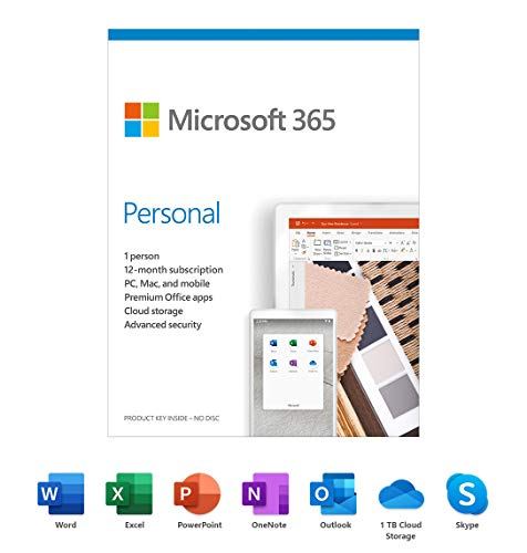 Microsoft 365 Assinatura pessoal de 1 ano para PC, Mac, iOS e Android, 1 carteira de usuário, cartão de chave