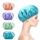 Titanker Shower Cap, 4-Pack EVA Shower Caps, Double Layer Waterproof Shower Cap for Women, Reusable Bathing Hair Caps for Adult (Green, Purple, Pinkish Orange, Blue)