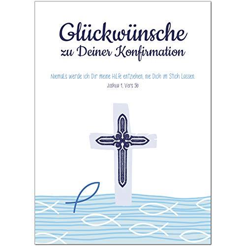 Glückwunschkarte Konfirmation mit Umschlag/Modern grafisch Fische/Konfirmationskarten/Karte für Glückwünsche/Feier