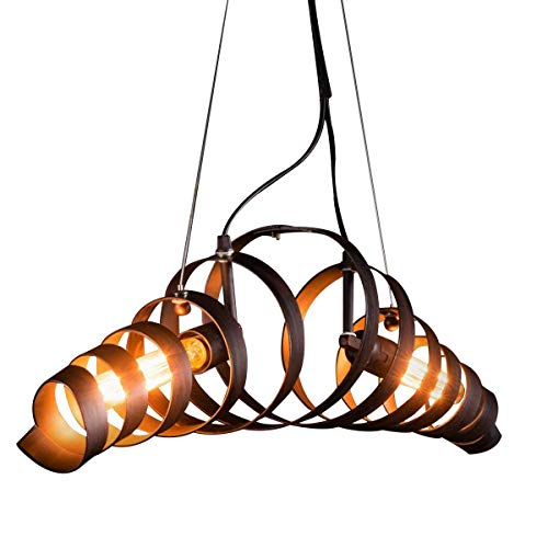 Ancien Fer suspension Lumière pendante Lustre Rétro Industriel Lampe suspendue Anneau Spirale Désign Fixation pour Îlot de cuisine Table de salle à manger Bar Loft Salon Réglable en hauteur Éclairage