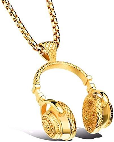 JSYHXYK Collar Free Fan DJ Música Auricular Colgante Collar Cadena Larga Hombres Mujeres Hip Hop Joyería Rock Auriculares Collar Regalo Masculino