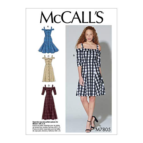 McCall's Patterns M7805E5 McCall's Women's Off-The-Shoulder Strap Dress Sewing Patterns, Sizes 14-22, 14-16-18-20-22, White