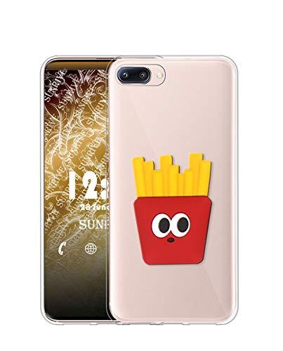 Sunrive Cover per iPhone 6 / 6S, Custodia in Molle Ultra Slim Trasparente Silicone Morbida Protector Back Case Protettiva Kickstand(Patatine Fritte)