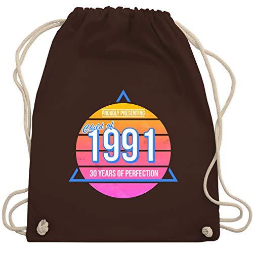 Shirtracer Geburtstag - Child of 1991 Retro - 30. Geburtstag - Unisize - Braun - WM110_Stoffbeutel - WM110 - Turnbeutel und Stoffbeutel aus Baumwolle