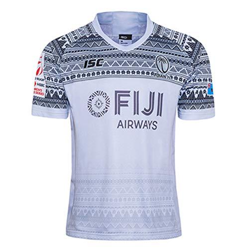 2020 Fiji Sevens Heim- und Auswärts-Rugby-Trikots American Football Trikots T-Shirts Athleten Training Anzüge Unterhemden kurze Ärmel Schweißbildung weich atmungsaktiv am besten Gr. S, weiß